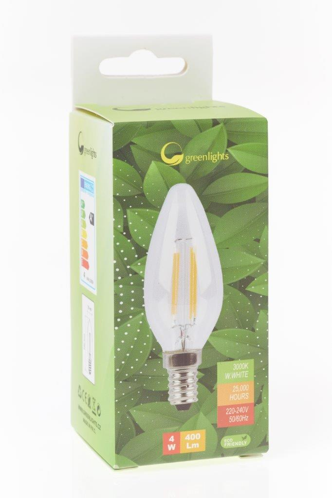 LED žárovka GREEN LIGHTS E14 Filament LED 4W svíčka